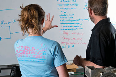 photo of a student and professor looking at a whiteboard