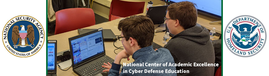DHS, NSA Logo with students on computers