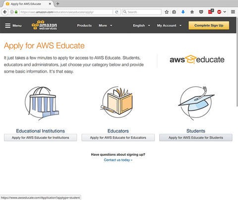 Step 2 image for Applying AWS Credit