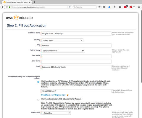 Step 5 image for Applying AWS Credit