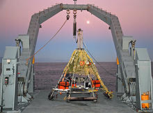 Pyramid-shaped multicorer on the deck of the R/V Melville